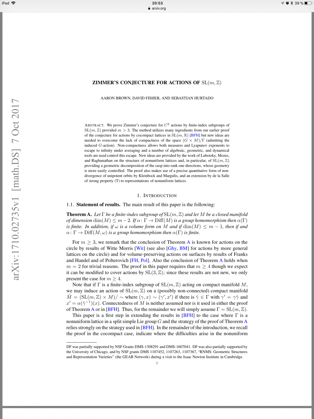 What\'s new on the ArXiv: Zimmer\'s conjecture for actions of SL(m,Z ...
